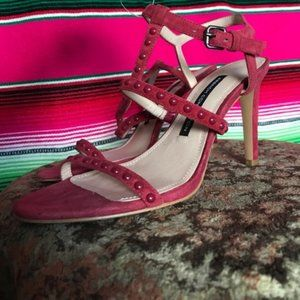 FCUK Studded Suede T Strap Sandal Leather Heels